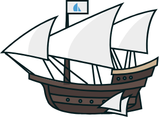 A ship hovering a few feet over the surface of the water, bearing a flagpole with the Sails.js logo